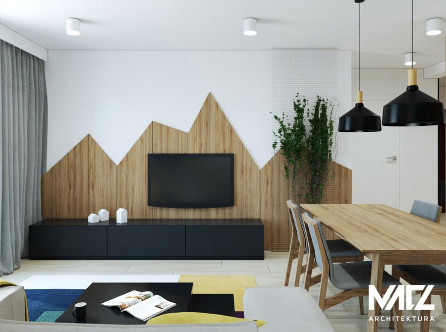 Modna aranżacja z drewna na ścianie w salonie