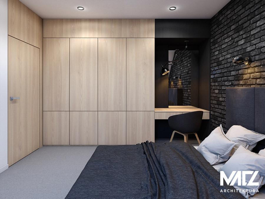 Projekt sypialni z czarną cegłą na ścianie