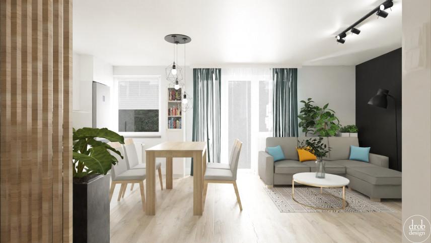 Salon w stylu loft z jasną podłogą