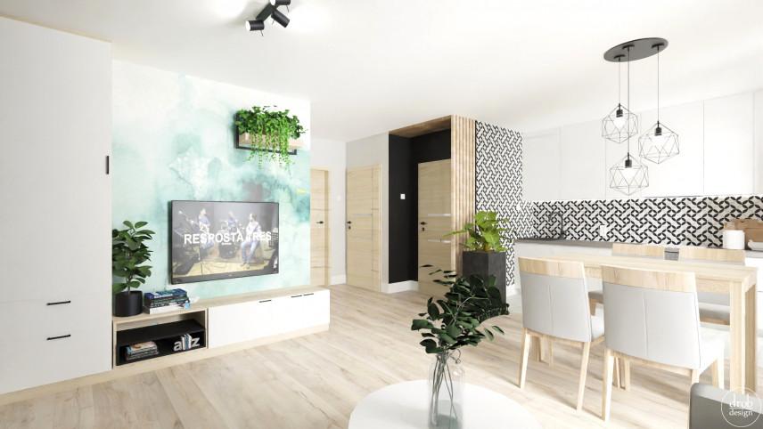 Salon w stylu loft z aneksem kuchennym