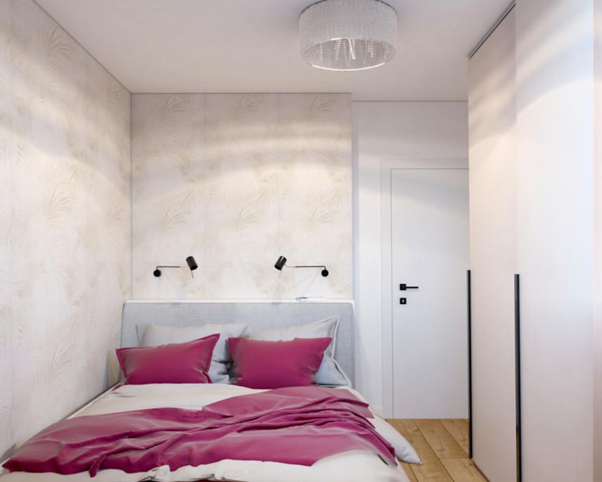 Aranżacja sypialni z jasną tapeta na ścianie