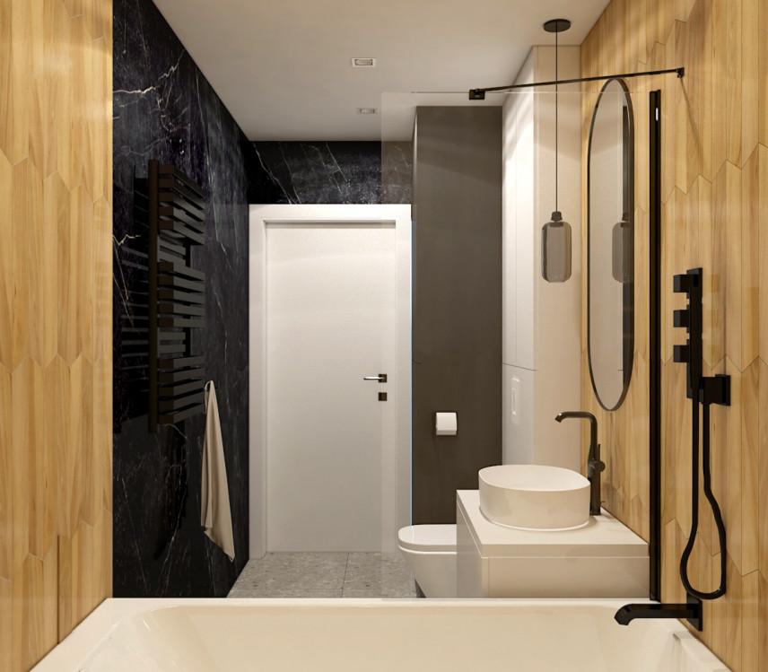 Projekt łazienki z czarno-brązowymi ścianami