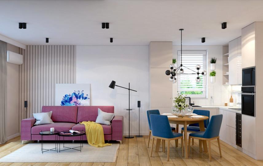 Projekt salonu z kolorowymi meblami