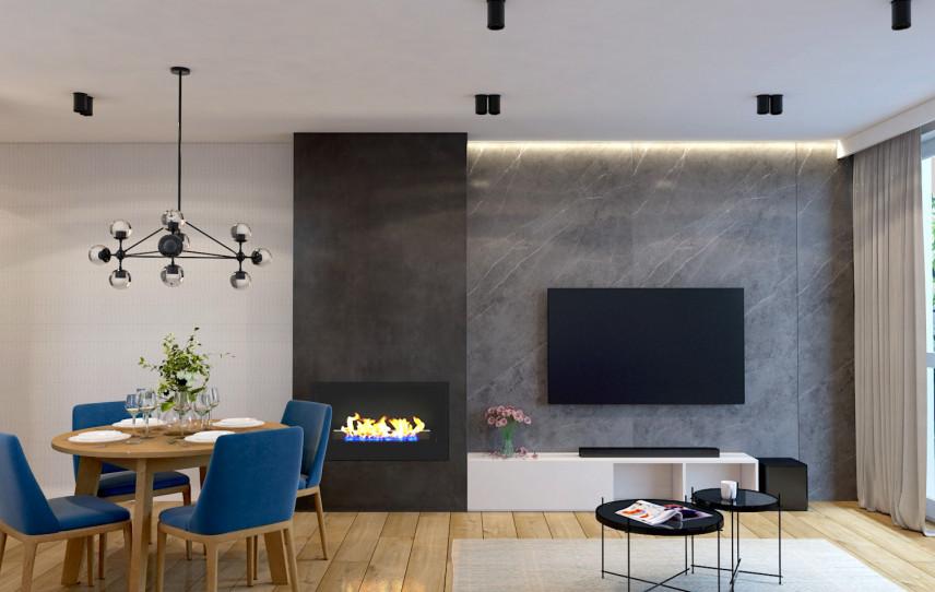 Aranżacja salonu ze ścianą z betonem dekoracyjnym