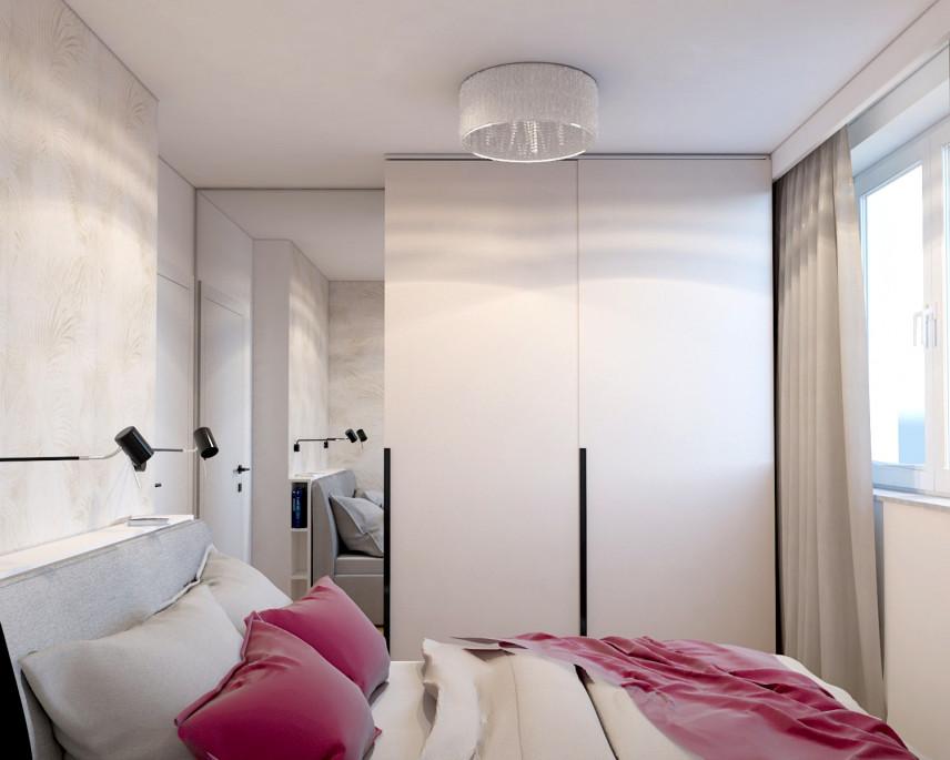 Projekt małej sypialni z szafą