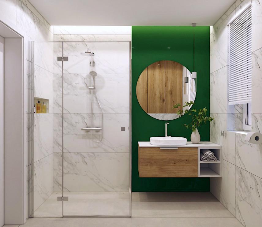 Aranżacja łazianki z zieloną ścianą