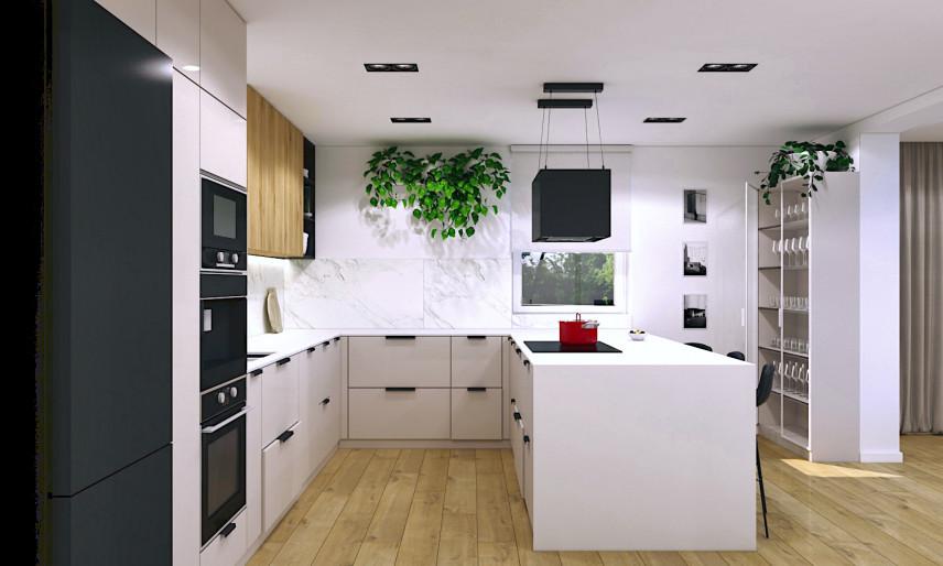 Aranżacja kuchni w zabudowie z panelami na podłodze