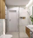 Projekt łazienki z gresowymi płytkami na ścianie
