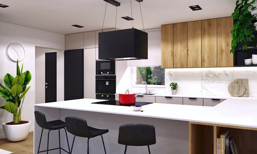 Aranżacja kuchni w zabudowie z biało-drewnianymi frontami