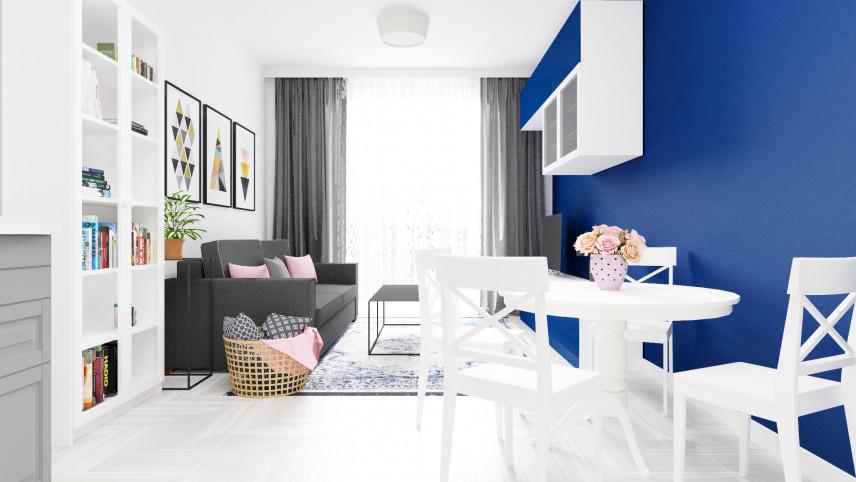 Pokój dzienny z niebieską ścianą