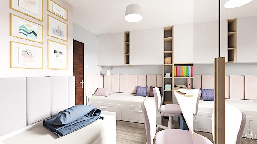 Projekt pokoju z dwoma łóżkami pojedynczymi