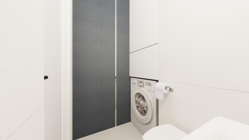 Aranżacja łazienki z pralką w zabudowie
