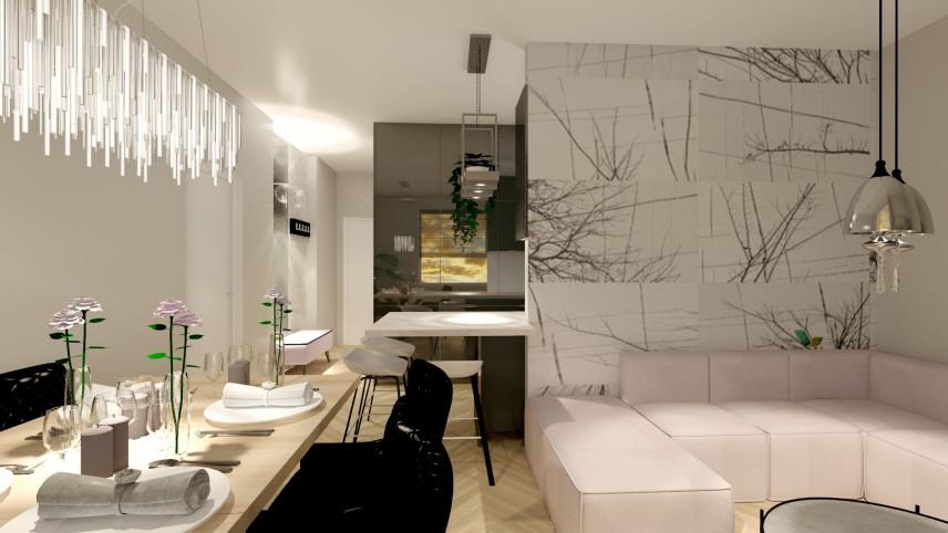 Aranżacja salonu z designerską lampą kryształową