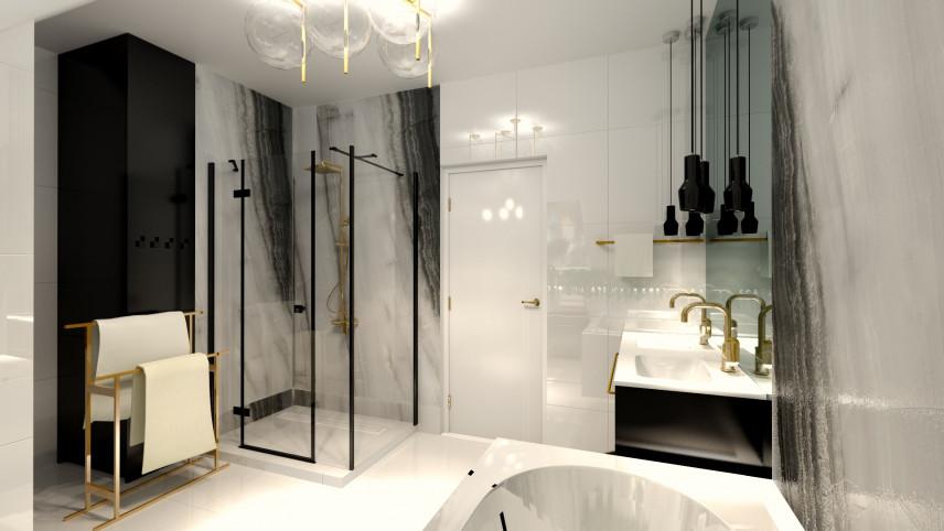 Projekt łazienki w stylu glamour