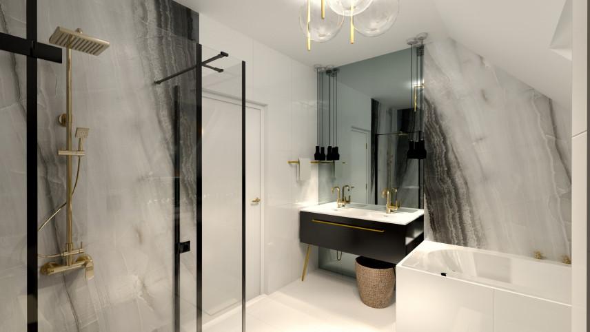 Łazienka z imitacją marmuru na ścianie