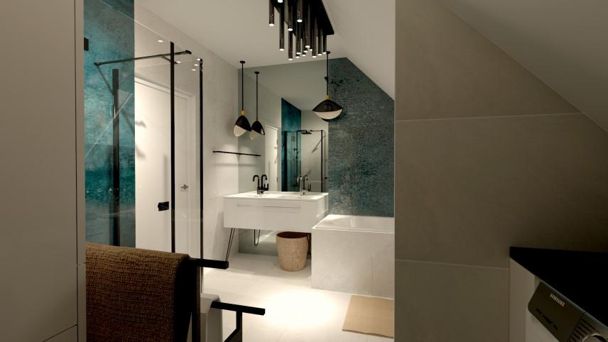 Projekt łazienki z turkusowymi, dużymi kaflami na ścianie