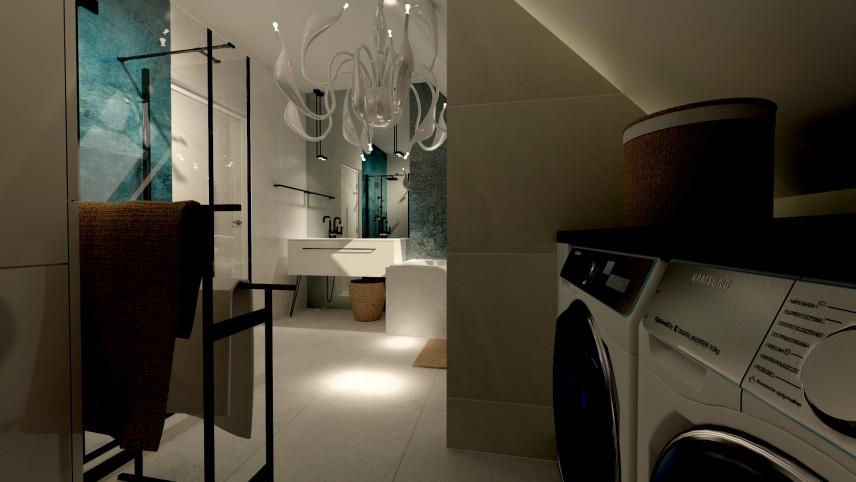 Projekt łazianki z białą podłogą