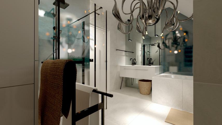 Projekt łazianki z wanną i prysznicem