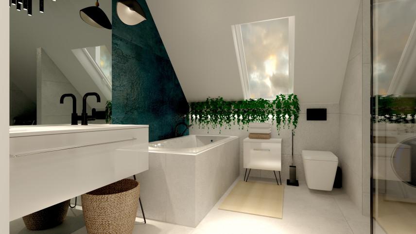 Projekt łazienki z oknem w suficie