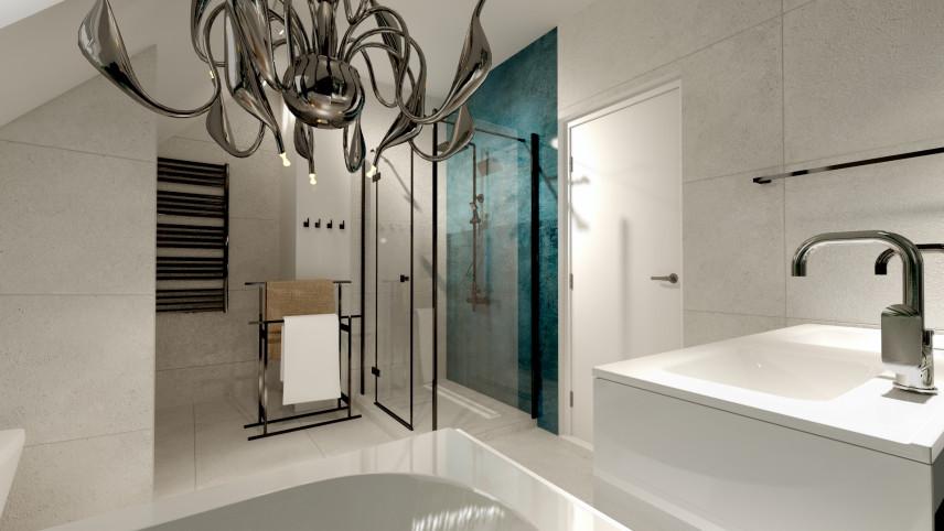 Projekt łazienki ze stojakiem na ręczniki