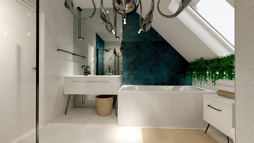 Projekt łazienki z białą szafką stojącą pod zlew.