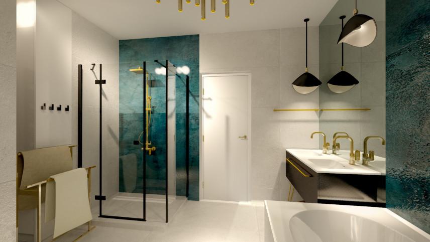 Aranżacja łazienki ze złotym kranem