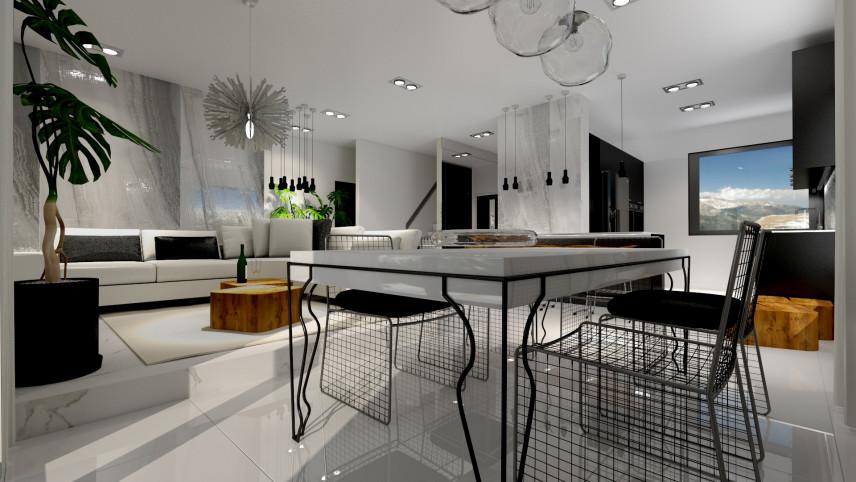 Aranżacja salonu z z designerskim stołem