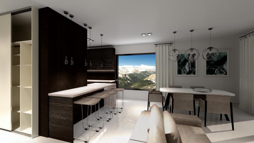 Aranżacja mieszkania z białą, błyszczącą podłogą