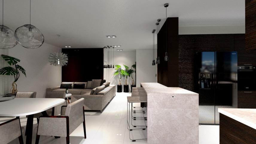 Projekt mieszkania z jadalnią, salonem i kuchnią z beżową wyspą