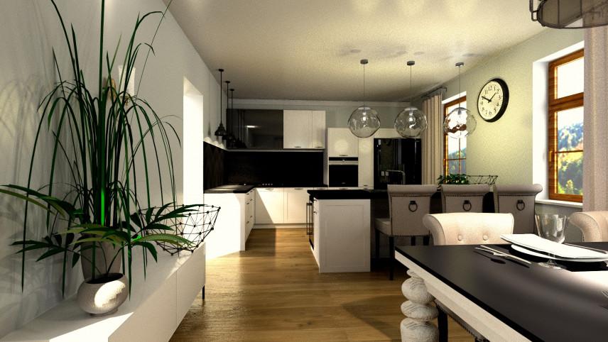 Aranżacja mieszkania z kuchnią i salonem