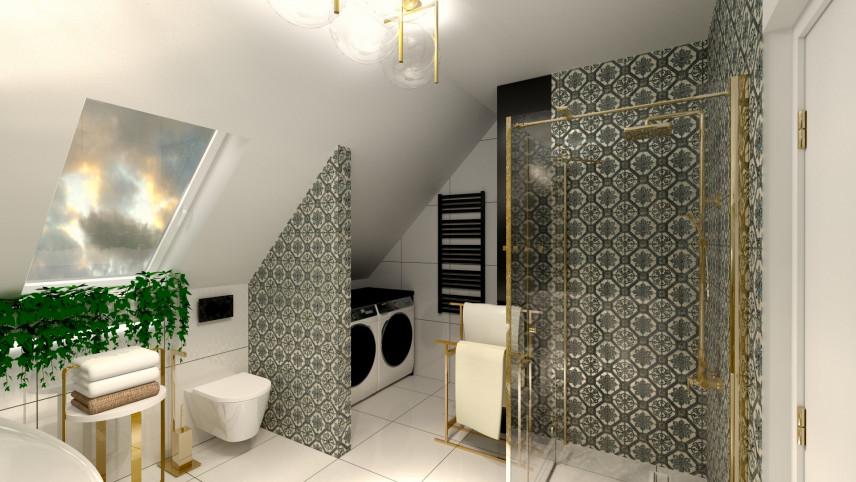 Aranżacja łazienki z wzorzystą ścianą