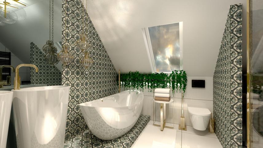 Aranżacja łazienki z oknem sufitowym