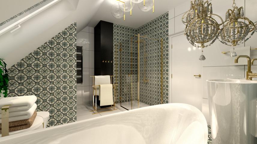 Aranżacja łazienki z ekskluzywnymi lampami wiszącymi