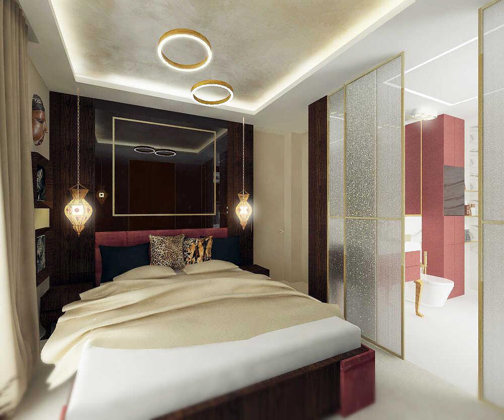 Sypialnia widok w stronę łazienki i łóżka