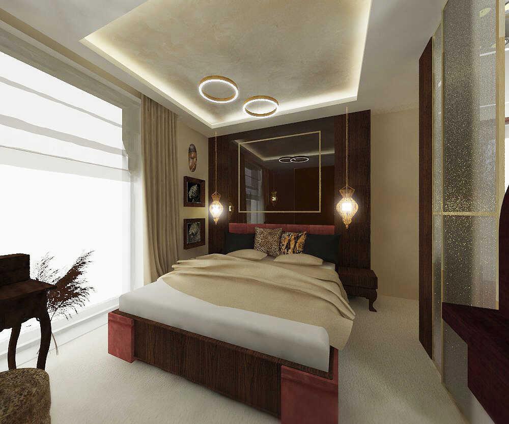 Sypialnia widok w stronę łóżka