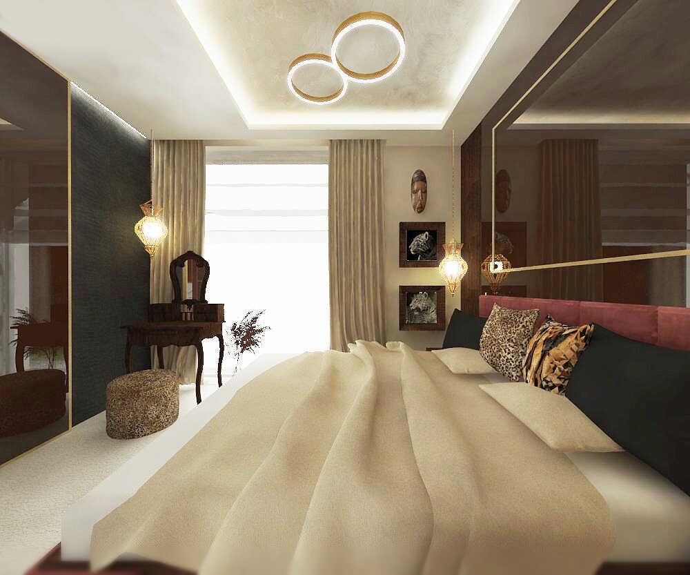 Sypialnia widok w stronę stylowej toaletki