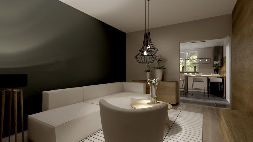 Projekt salonu z antracytową ścianą