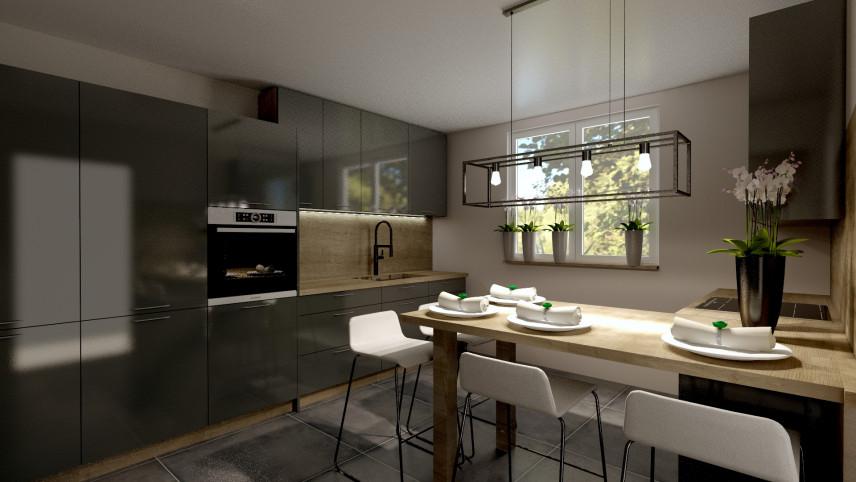 Aranżacja kuchni z lampą w stylu loft