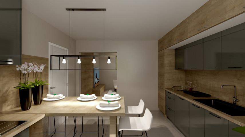 Kuchnia z elementami drewna na ścianie