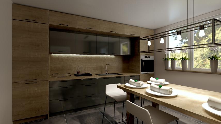 Aranżacja kuchni w stylu klasycznym z lampą w stylu loft
