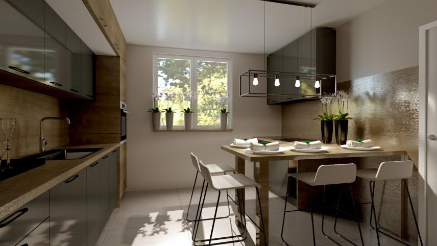 Kuchnia z błyszczącymi kaflami na ścianie z imitacją drewna