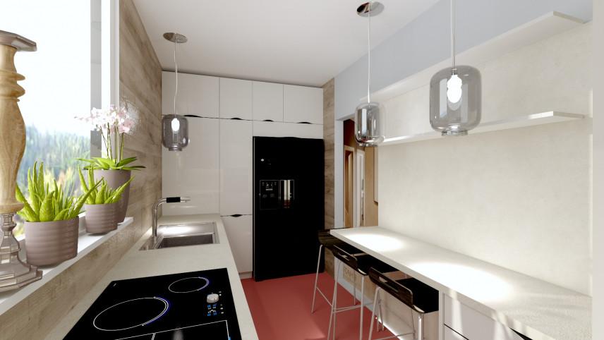 Aranżacja kuchni z blatem zamontowanym przy ścianie