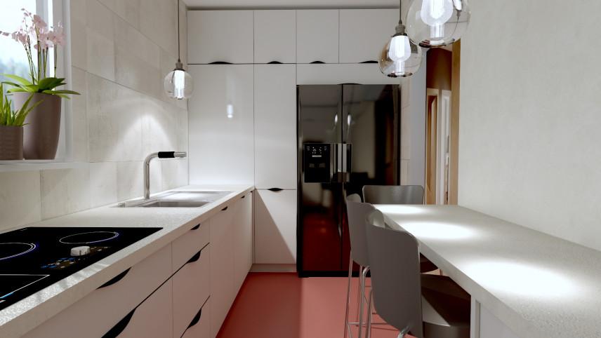 Aranżacja wąskiej kuchni z różową podłogą