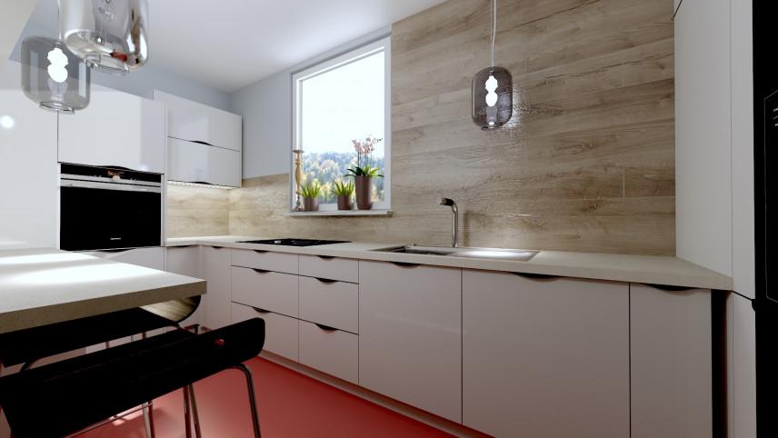 Aranżacja kuchni w bieli z kaflami z imitacją drewna