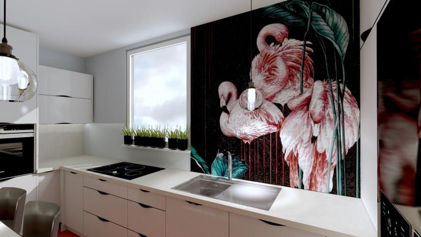Mała, wąska kuchnia z tapetą z flamingami