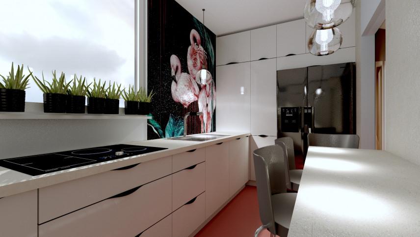 Aranżacja kuchni z jadalnią z tapetą z flamingami