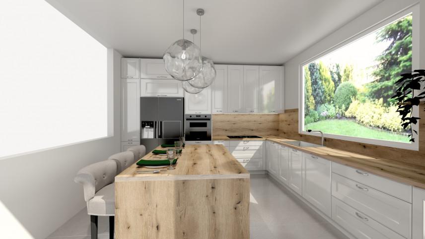 Projekt klasycznej kuchni z drewnianymi elementami