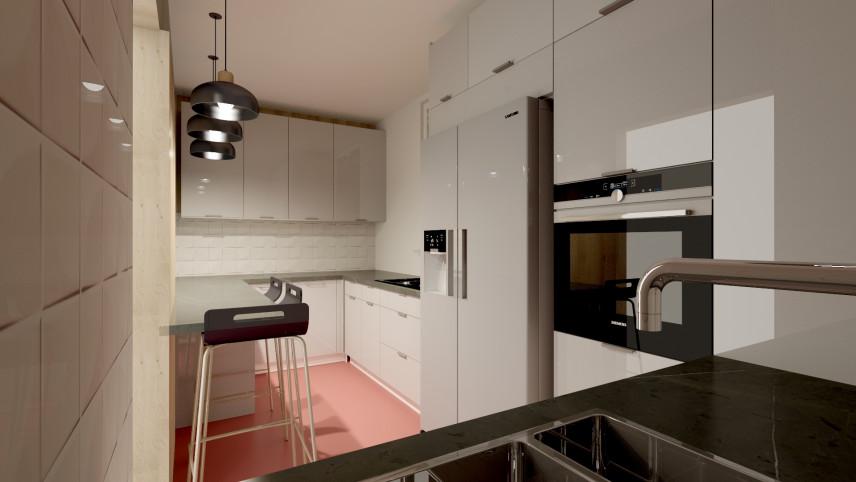 Kuchnia z białymi frontami i różową podłogą