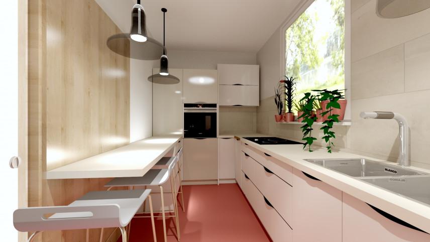 Projekt wąskiej kuchni z różową podłogą