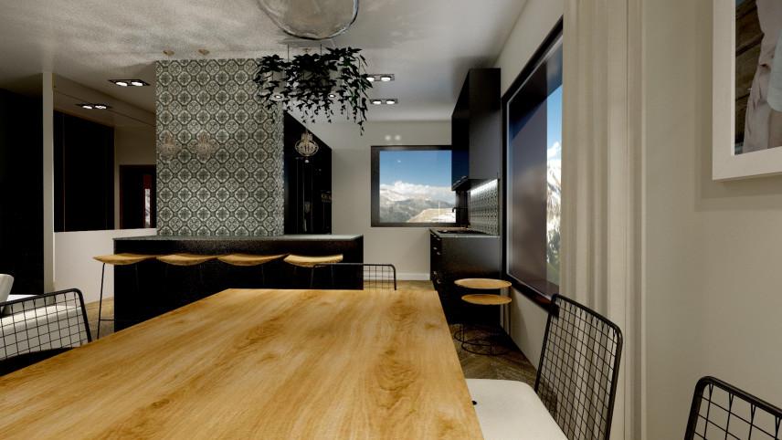 Aranżacja jadalni z dębowym stołem i metalowymi krzesłami